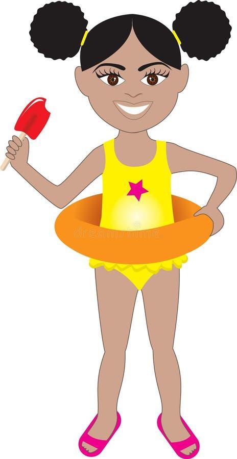 Costume da bagno della ragazza di Afro illustrazione vettoriale