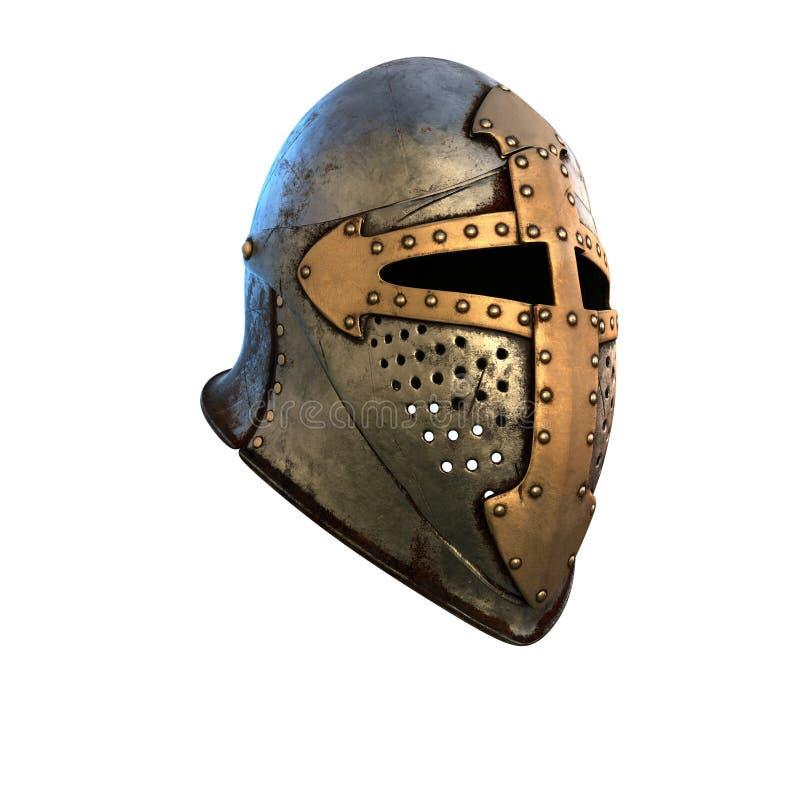 Costume de casque d'isolement d'armure médiéval sur une illustration blanche du fond 3d illustration libre de droits