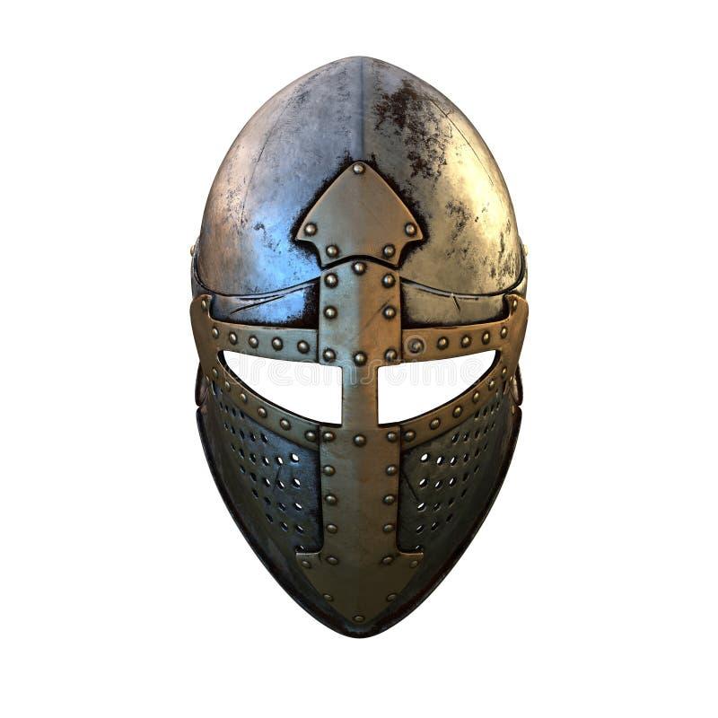 Costume de casque d'isolement d'armure médiéval sur une illustration blanche du fond 3d photographie stock