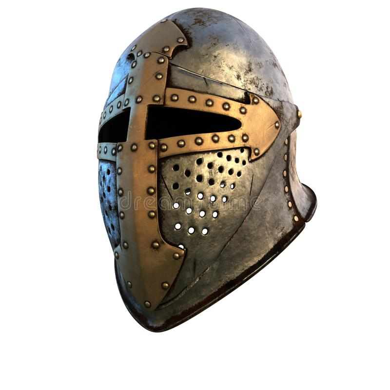 Costume de casque d'isolement d'armure médiéval sur une illustration blanche du fond 3d image libre de droits
