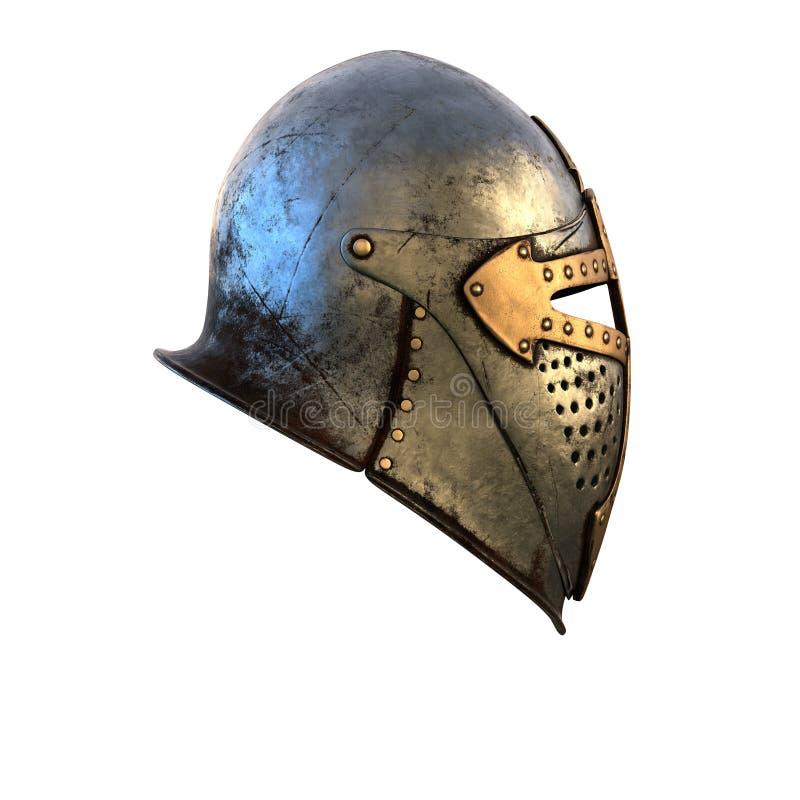 Costume de casque d'isolement d'armure médiéval sur une illustration blanche du fond 3d images libres de droits
