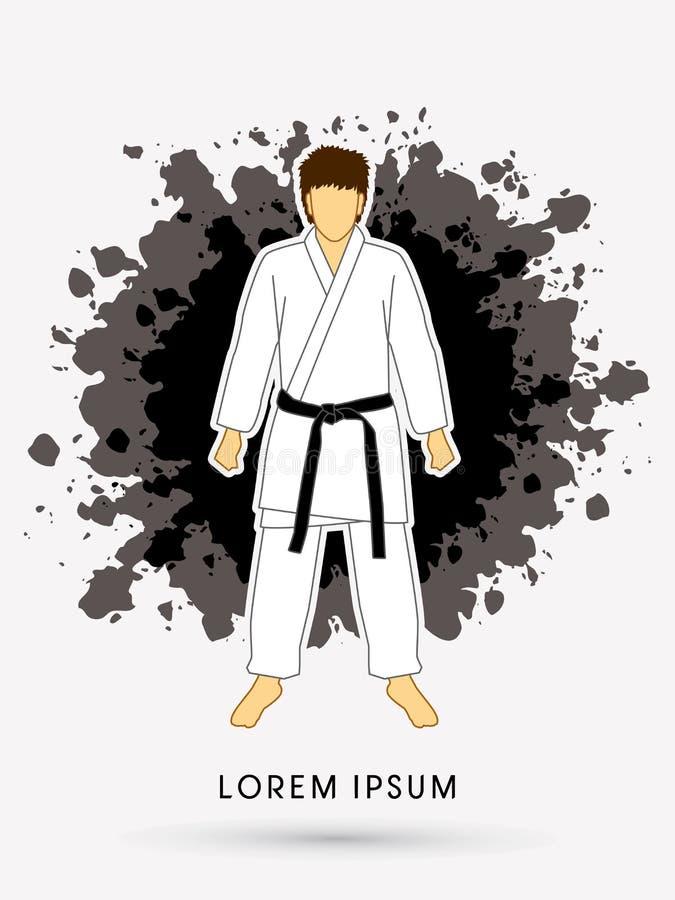 Costume de karaté avec les ceintures noires d'arts martiaux illustration libre de droits
