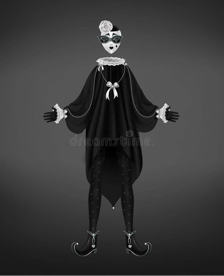 Costume de pierrot, caractère italien de comedy del arte illustration libre de droits
