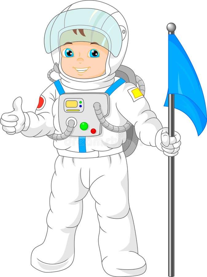 Costume de port d'astronaute de petit garçon de bande dessinée illustration de vecteur