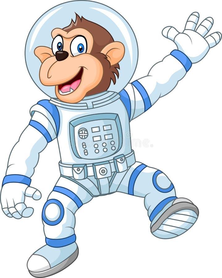 Costume de port d'astronaute de singe drôle de bande dessinée illustration stock
