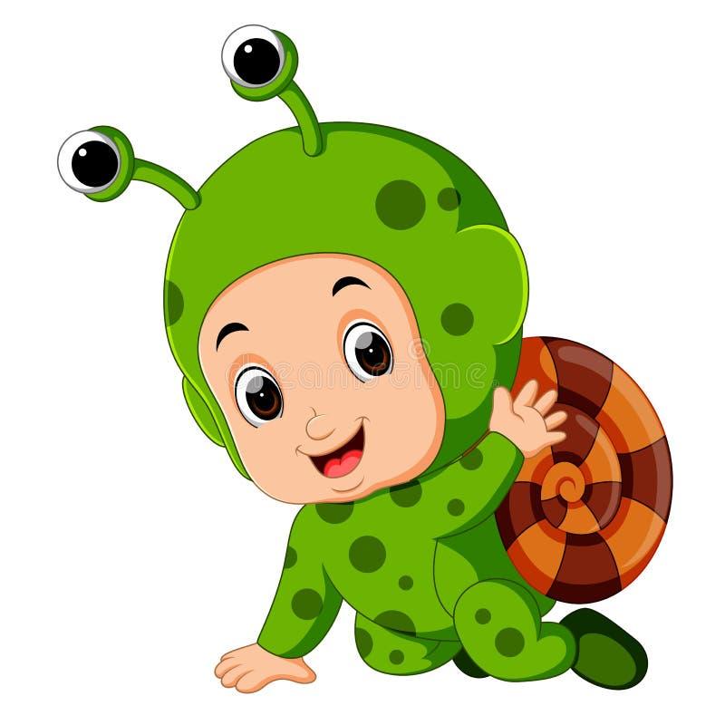 Costume de port d'escargot de bande dessinée mignonne de garçon illustration de vecteur