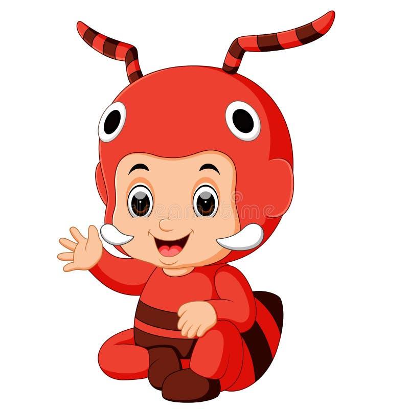 Costume de port de fourmi de bande dessinée mignonne de garçon illustration libre de droits
