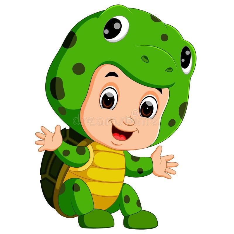 Costume de port de tortue de bande dessinée mignonne d'enfants illustration de vecteur