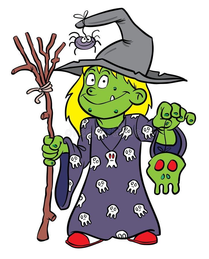 Costume de sorcière de Veille de la toussaint illustration stock