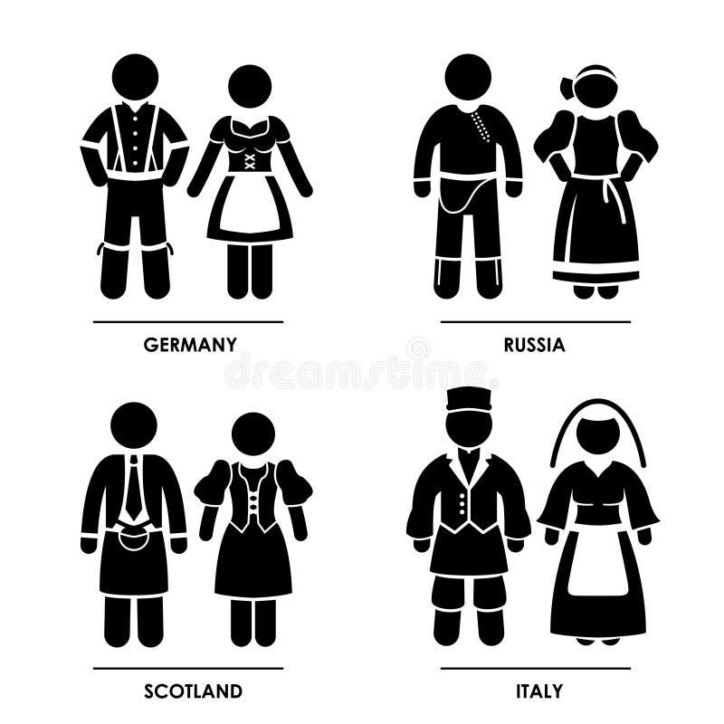 Costume dei vestiti dell'Europa illustrazione di stock