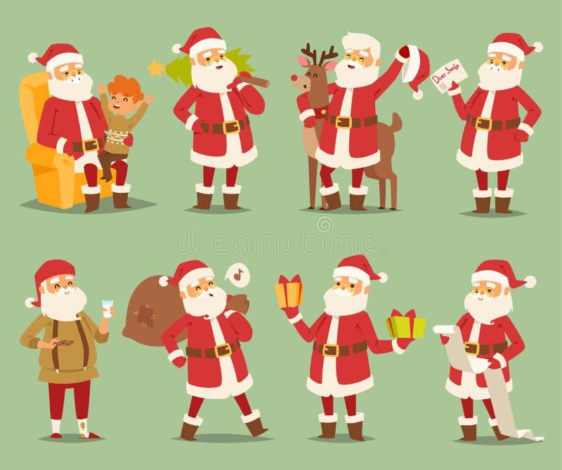 Costume di pose del carattere di vettore di Santa Claus di Natale dell'illustrazione dell'uomo differente di natale e cappello tr illustrazione di stock