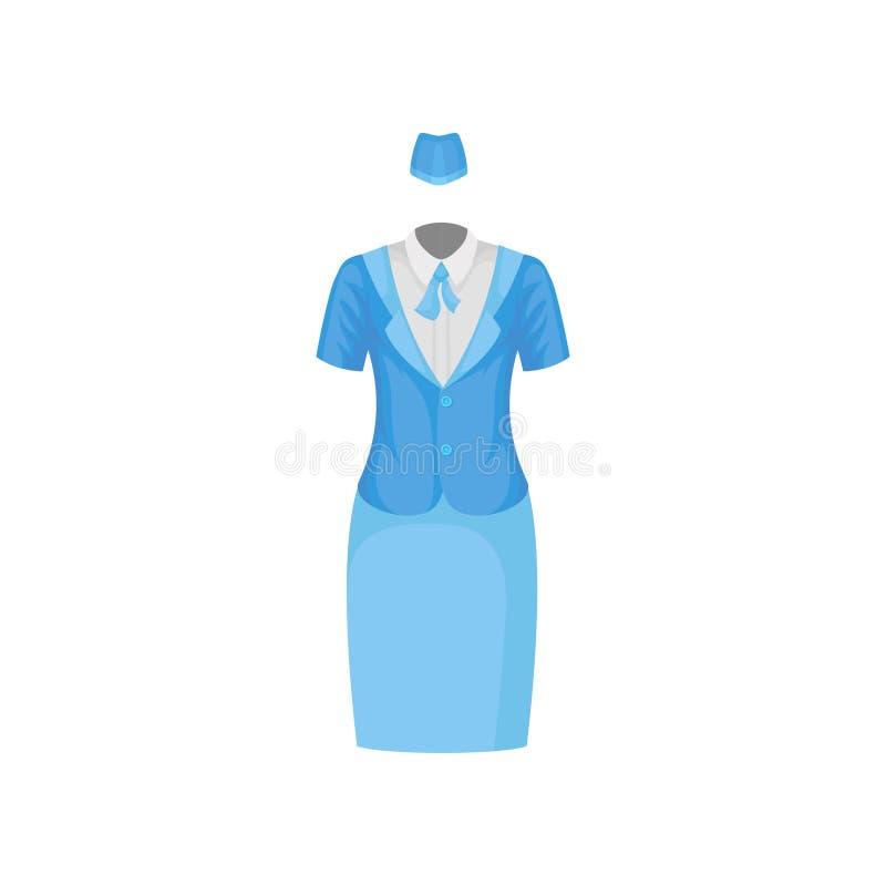 Costume Femelle D Hotesse De L Air Chemisier Blanc Veste Bleue