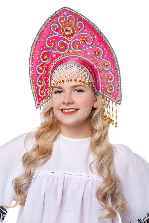 Costume folklorique russe traditionnel, portrait d'une jeune belle fille photographie stock