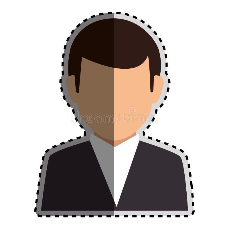 Costume formel de silhouette d'autocollant de demi homme sans visage coloré de corps illustration libre de droits