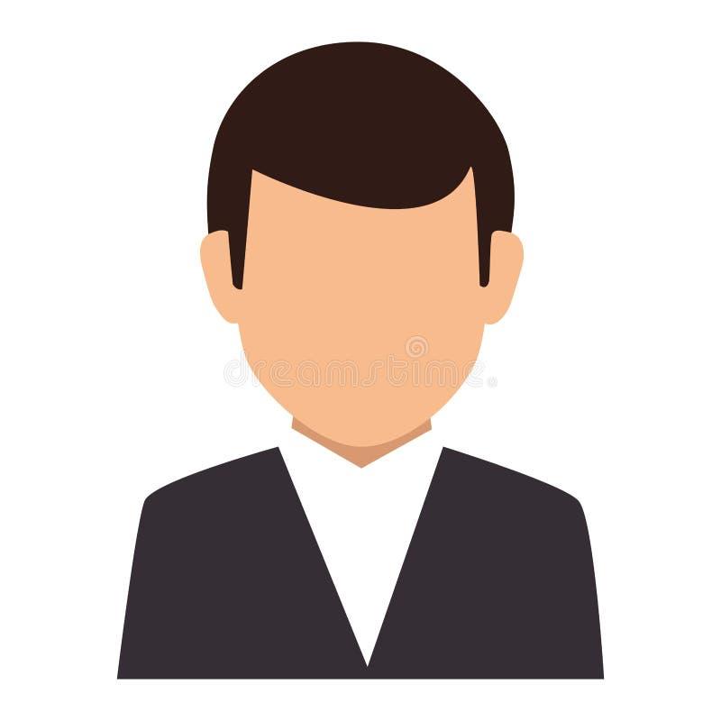 Costume formel de silhouette de demi homme sans visage coloré de corps illustration libre de droits