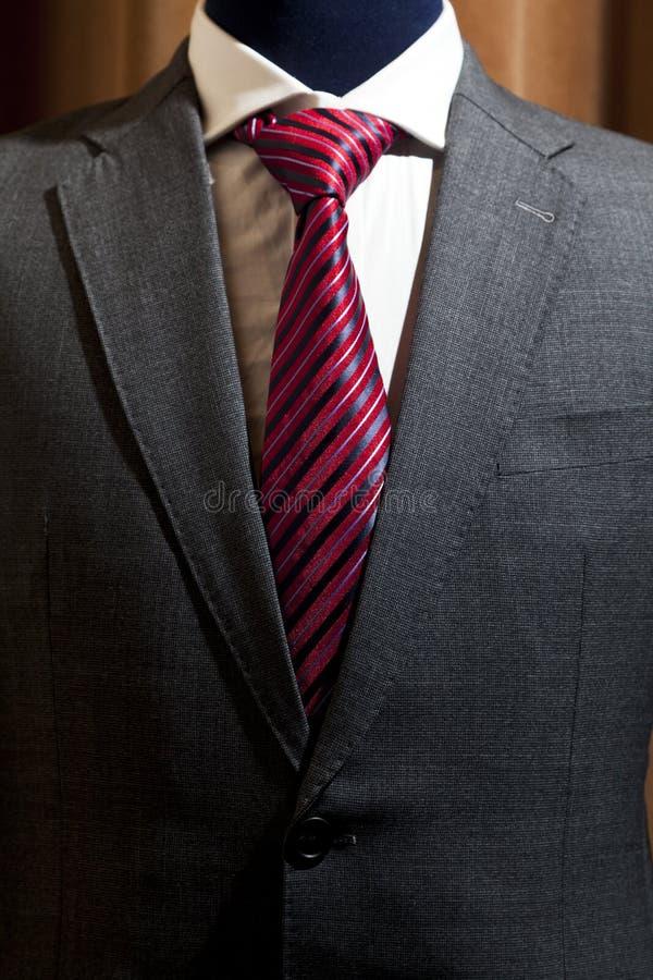 Costume gris avec le lien modelé par rouge images libres de droits