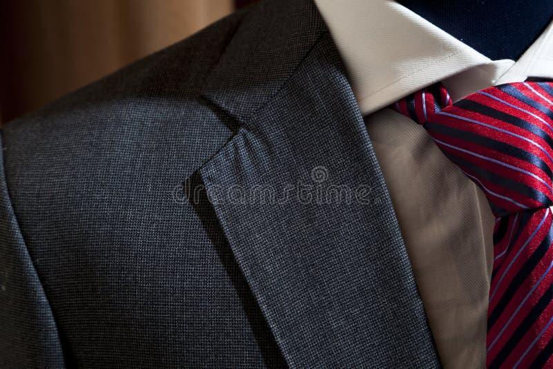 Costume gris avec le lien modelé par rouge photographie stock