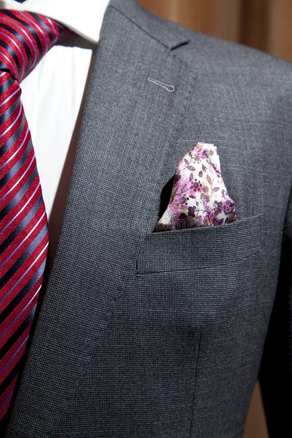 Costume gris avec le lien modelé par rouge photos stock