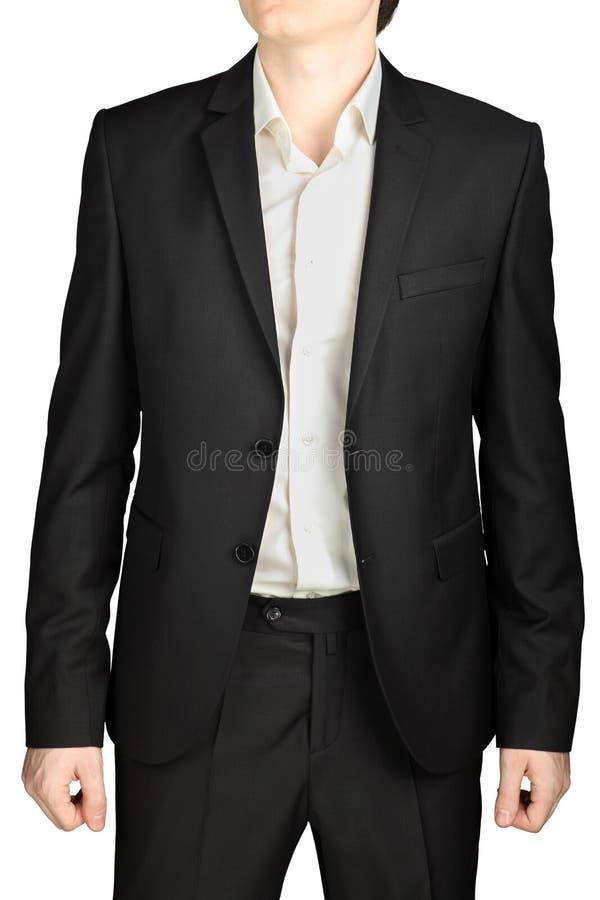 Costume gris-foncé de soirée, blazer desserré, chemise blanche, aucun lien photo libre de droits
