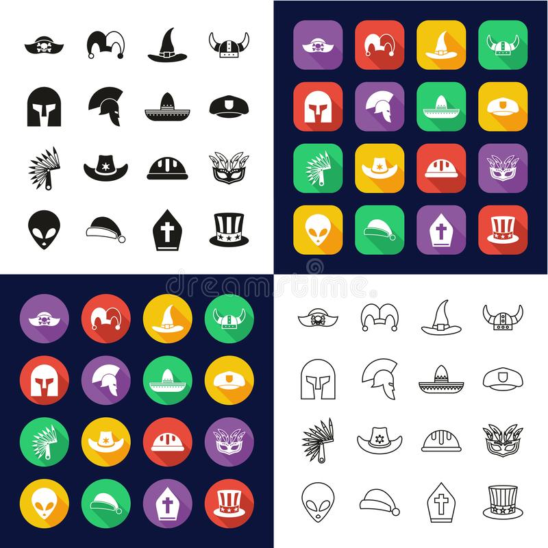 Costume Hats Icons All in One Icons -Black & White-Color Flat Design-Thin Line- Set. This image is a vector illustration and can be scaled to any size without royalty free illustration