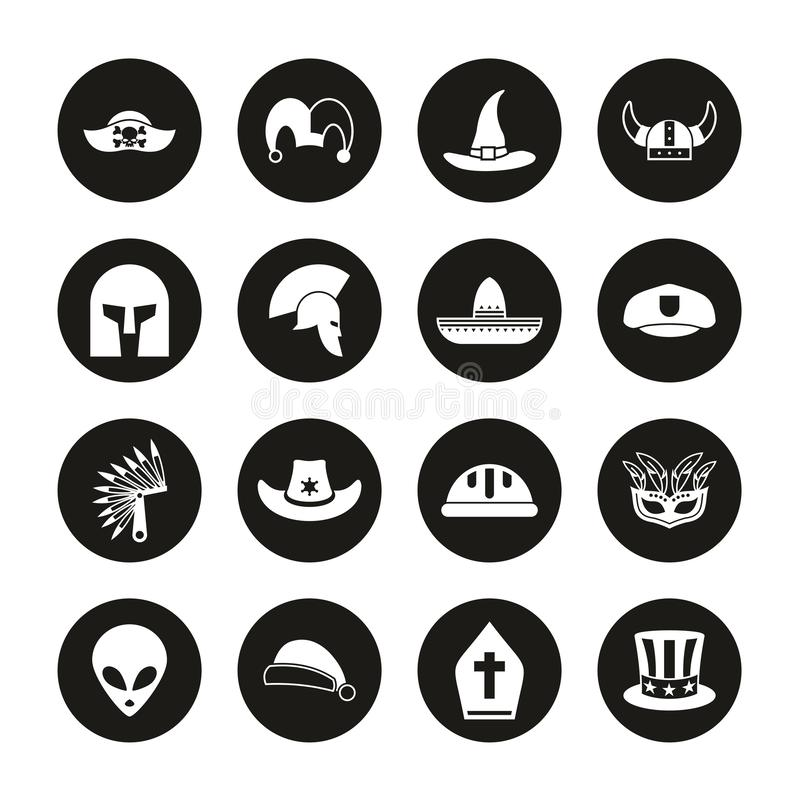 Costume Hats Icons White On Black Circle Set. This image is a vector illustration and can be scaled to any size without loss of resolution stock illustration