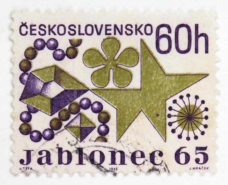 Costume Jewelry, Cultural anniversaries and events serie, circa 1965. MOSCOW, RUSSIA - JULY 15, 2019: Postage stamp printed in Czechoslovakia shows Costume stock photo