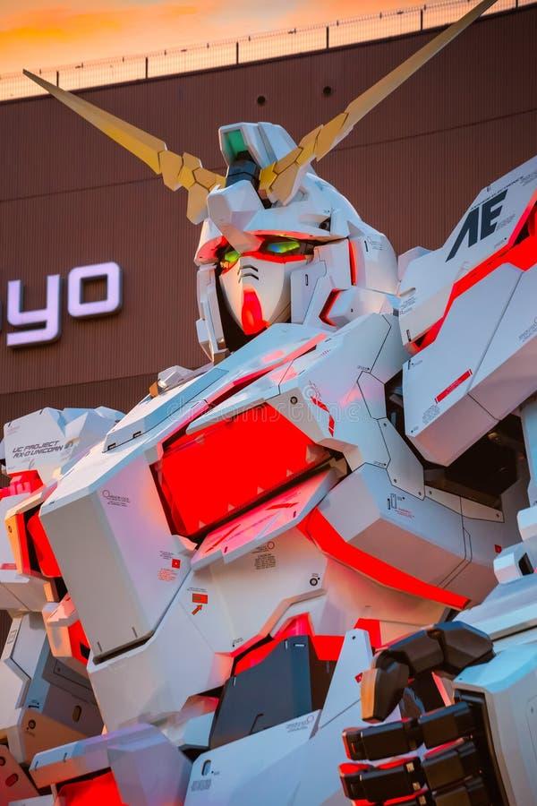 Costume mobile normal RX-0 Unicorn Gundam au plongeur City Tokyo Plaza à Tokyo, Japon images stock