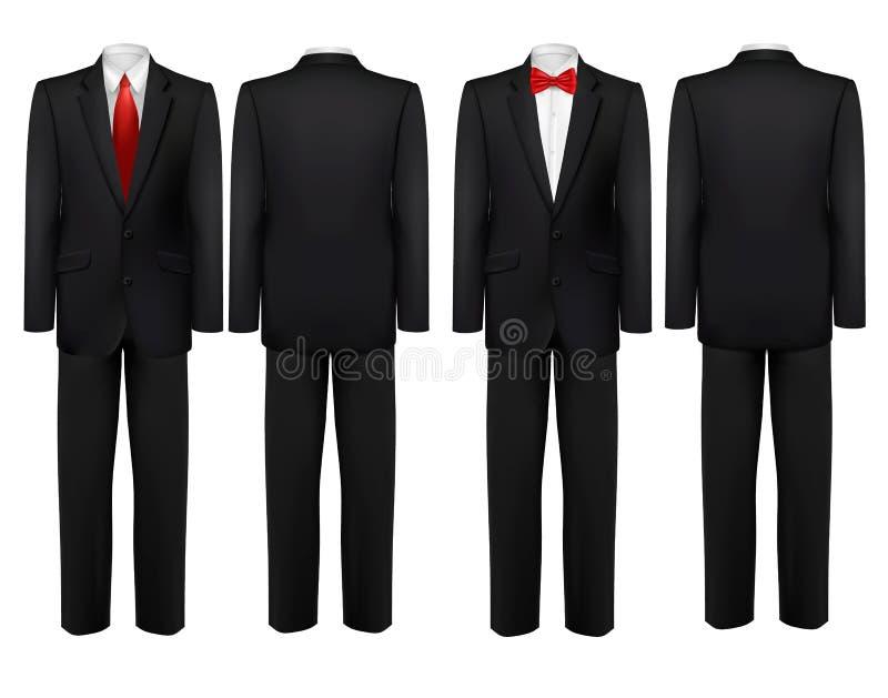 costume noir et chemise blanche avec le papillon et le lien illustration de vecteur. Black Bedroom Furniture Sets. Home Design Ideas
