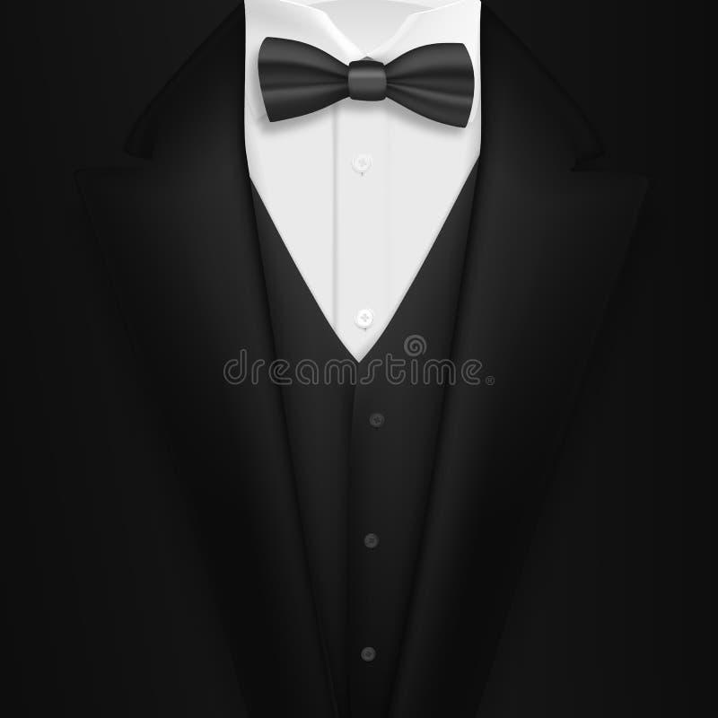 Costume noir réaliste de vecteur Costume élégant du smoking des hommes 3D Photorealistic avec le noeud papillon illustration stock