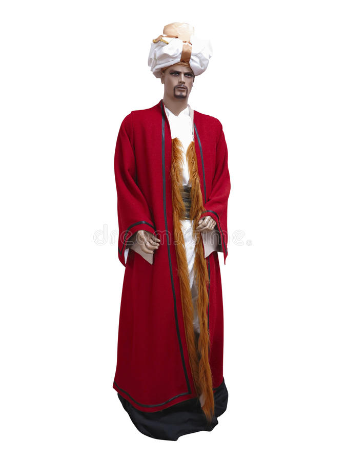 Costume orientale turco su un manichino isolato sopra bianco fotografie stock libere da diritti