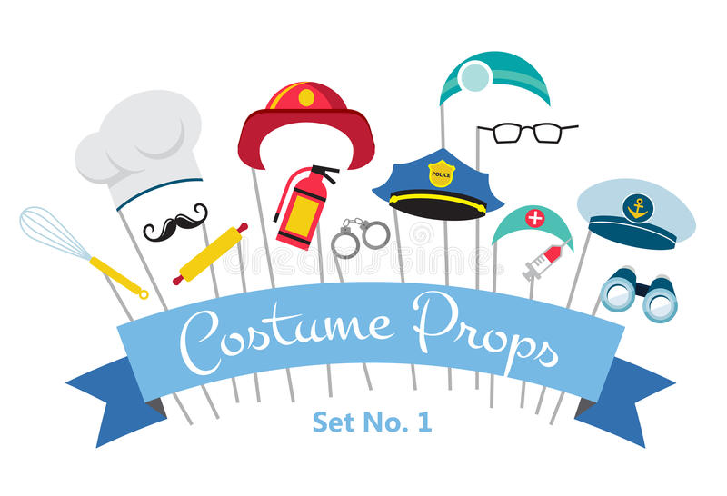 Costume party and photo booth props. profession royalty free illustration