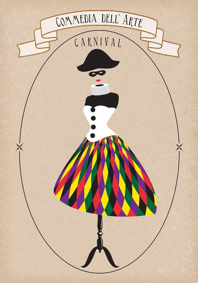 Costume théâtral, dell'arte de commedia, Harlequina Illustration de vecteur illustration de vecteur