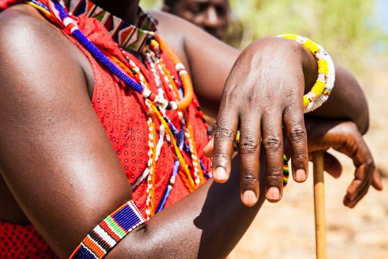 Costume tradizionale masai fotografia stock