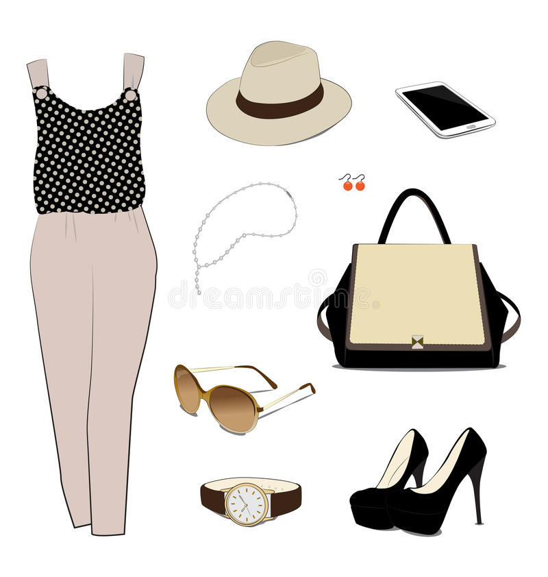 Costume for women. On white background stock illustration
