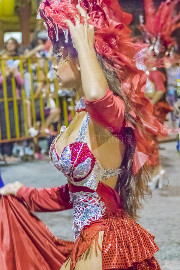 Costumed Attractive Young Woman Dancer at Carnival Parade of Uruguay. MONTEVIDEO, URUGUAY, JANUARY - 2016 - Attractive costumed young caucassian woman dancer royalty free stock photography