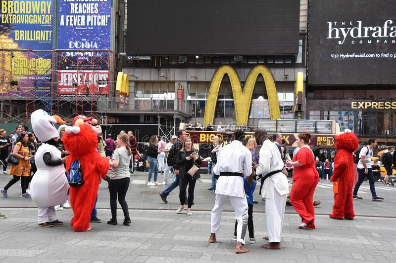 Costumed characters at Times Square, in Manhattan, New York City royalty free stock images