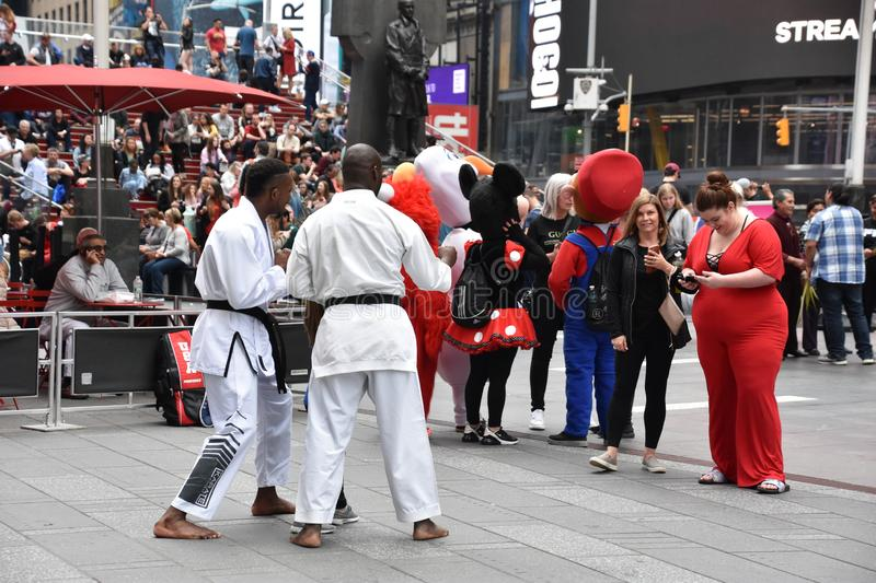 Costumed characters at Times Square, in Manhattan, New York City stock photos