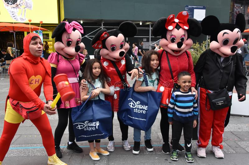 Costumed characters at Times Square, in Manhattan, New York City royalty free stock photos