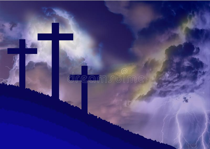 Costumed landscape of Calvary, with the symbolism of the crucifixion of Jesus. Illustration.Background royalty free illustration