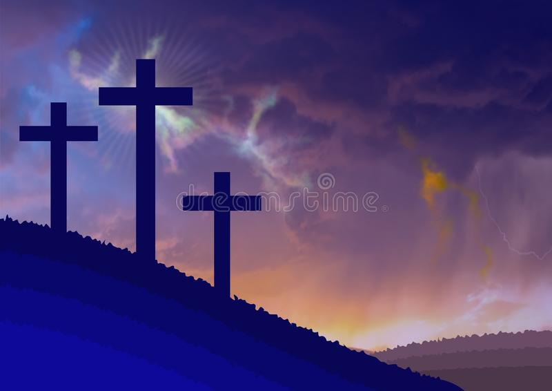 Costumed landscape of Calvary, with the symbolism of the crucifixion of Jesus. Illustration.Background stock illustration