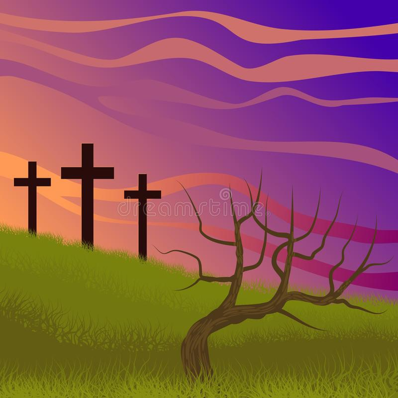 Costumed landscape of Calvary, with the symbolism of the crucifixion of Jesus. Illustration vector illustration
