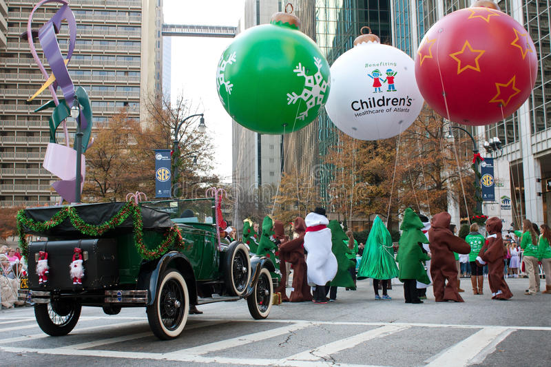 Costumed People Gather At Start Of Christmas Parade stock photography