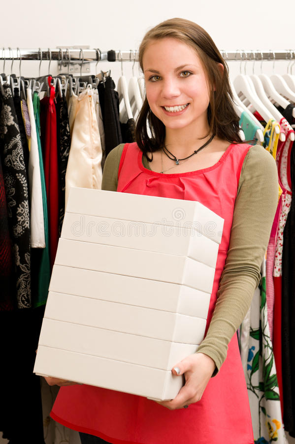 Costumer In Clothing Shop Royalty Free Stock Photo