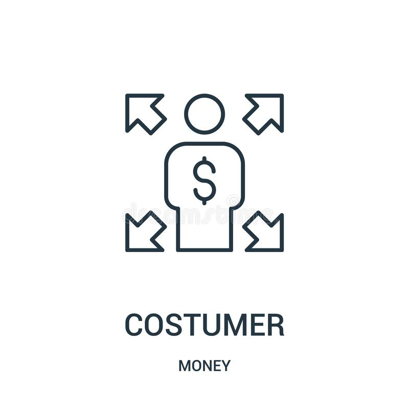 costumer icon vector from money collection. Thin line costumer outline icon vector illustration royalty free illustration