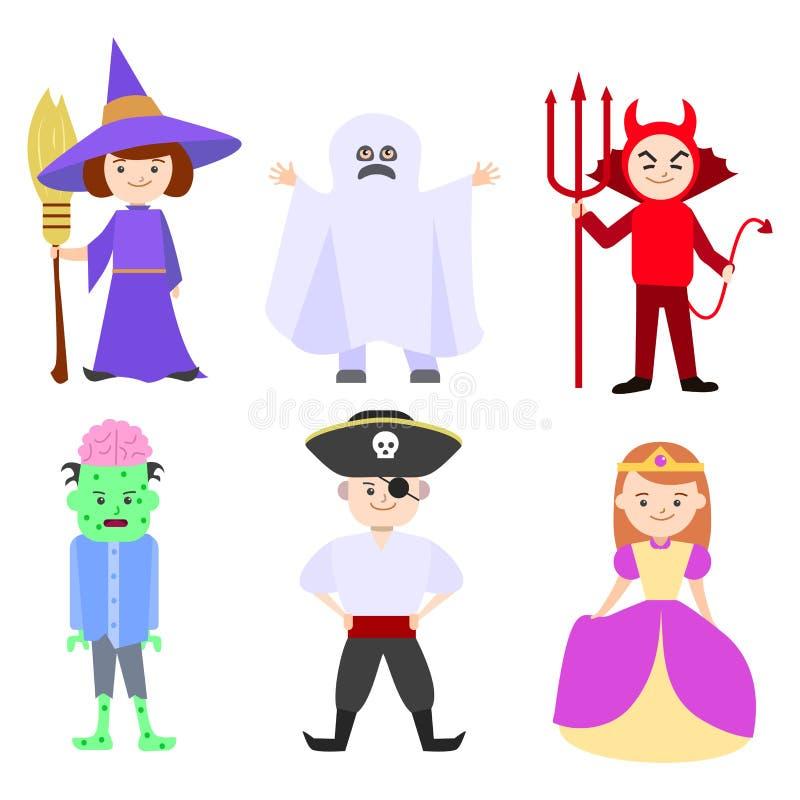 Costumes d'enfants de Halloween de bande dessinée réglés Vecteur illustration libre de droits