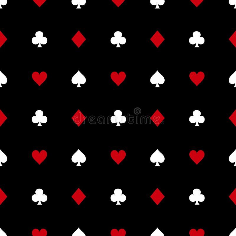 Costumes de carte blanche et rouge sur le fond noir Illustration de vecteur illustration libre de droits