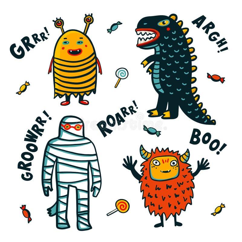 Costumes de monstres de Halloween sur le fond blanc Illustration de vecteur de dessin animé illustration de vecteur