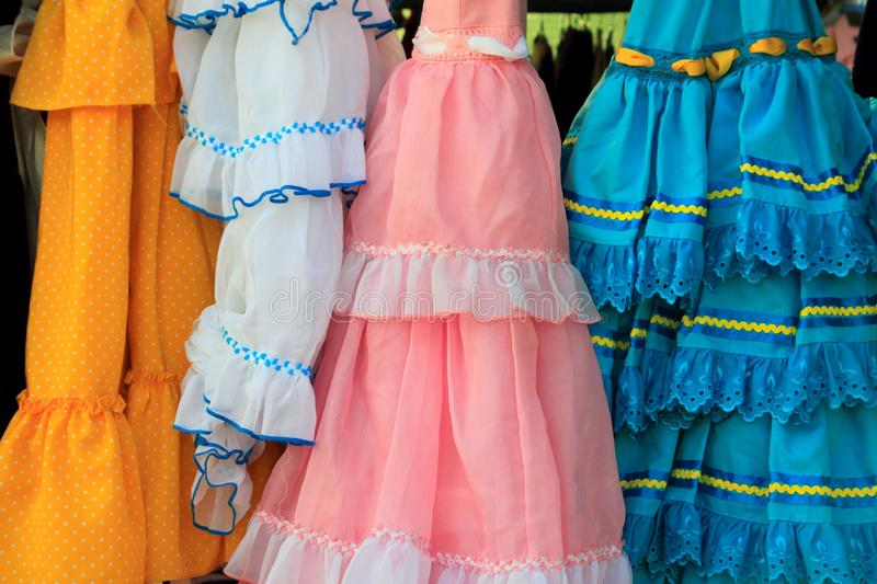 Costumes gypsy ruffle dress andalusian Spain royalty free stock photos