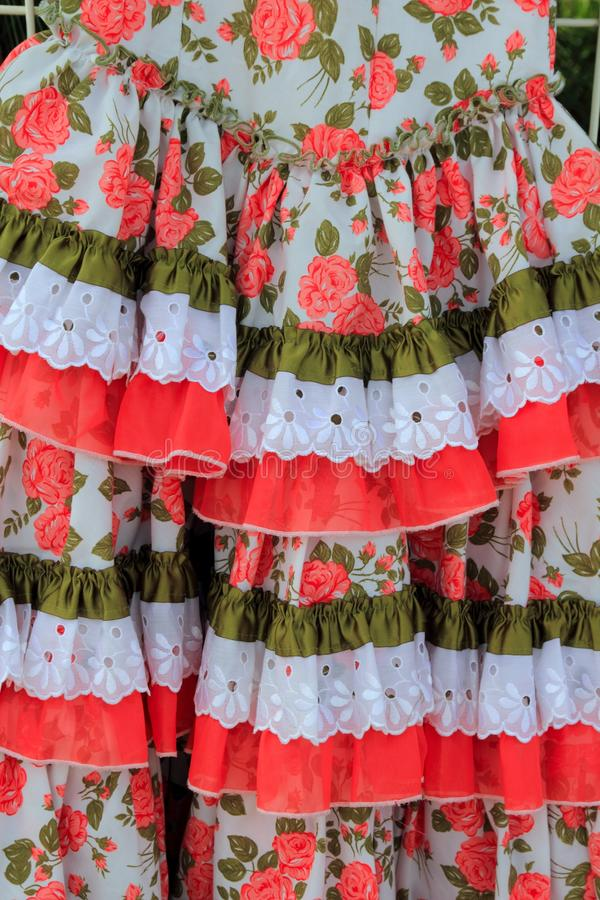 Costumes Gypsy Ruffle Dress Andalusian Spain Stock Photography
