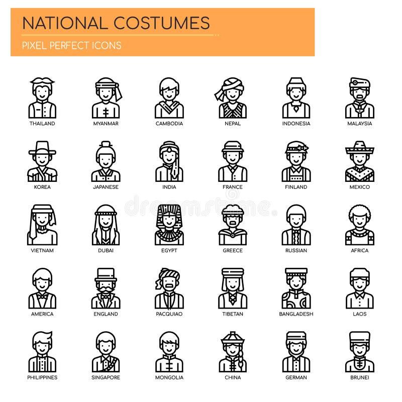 Costumes nationaux, icônes parfaites de pixel illustration libre de droits